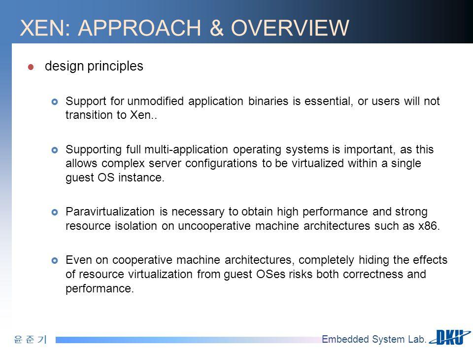 윤 준 기윤 준 기 Embedded System Lab. XEN: APPROACH & OVERVIEW design principles  Support for unmodified application binaries is essential, or users will n