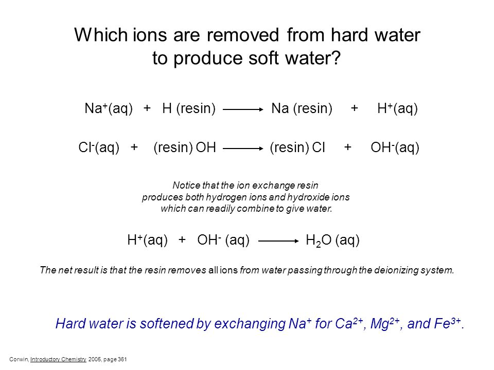 Which ions are removed from hard water to produce soft water.