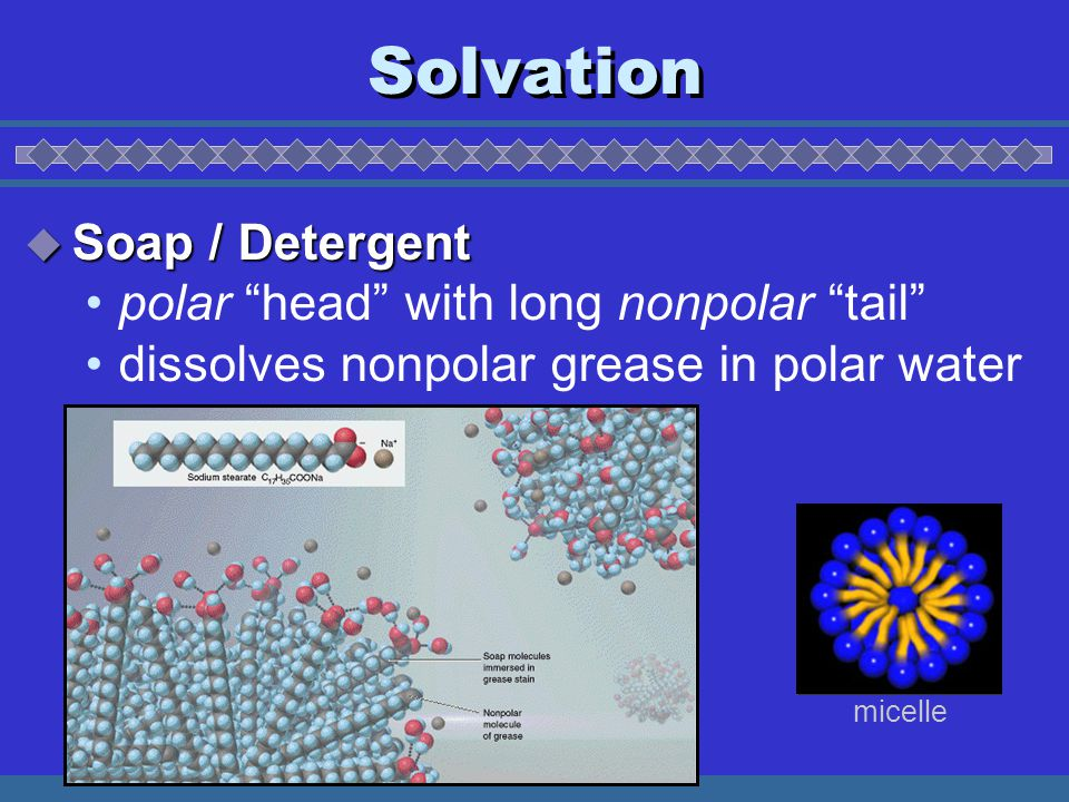 Solvation  Soap / Detergent polar head with long nonpolar tail dissolves nonpolar grease in polar water micelle