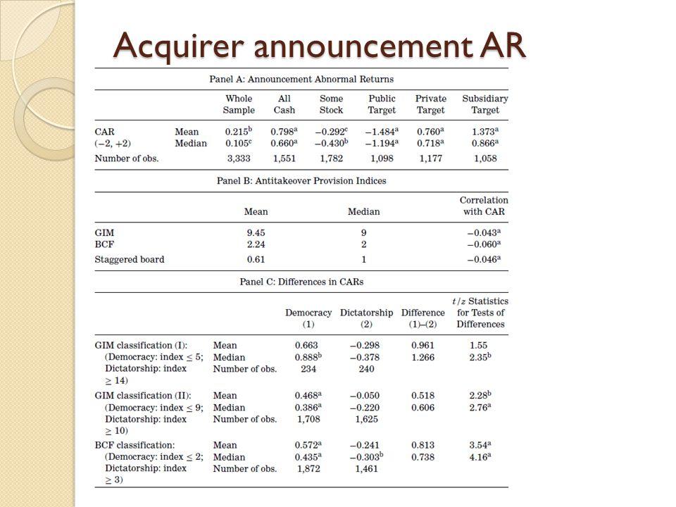 Acquirer announcement AR