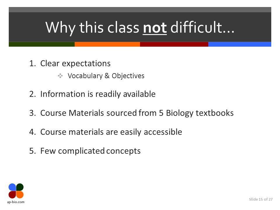 Slide 15 of 27 Why this class not difficult… 1. Clear expectations  Vocabulary & Objectives 2. Information is readily available 3. Course Materials s