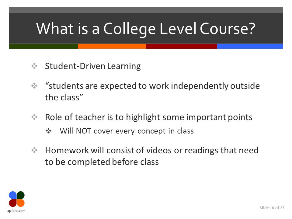 "Slide 16 of 27 What is a College Level Course?  Student-Driven Learning  ""students are expected to work independently outside the class""  Role of t"
