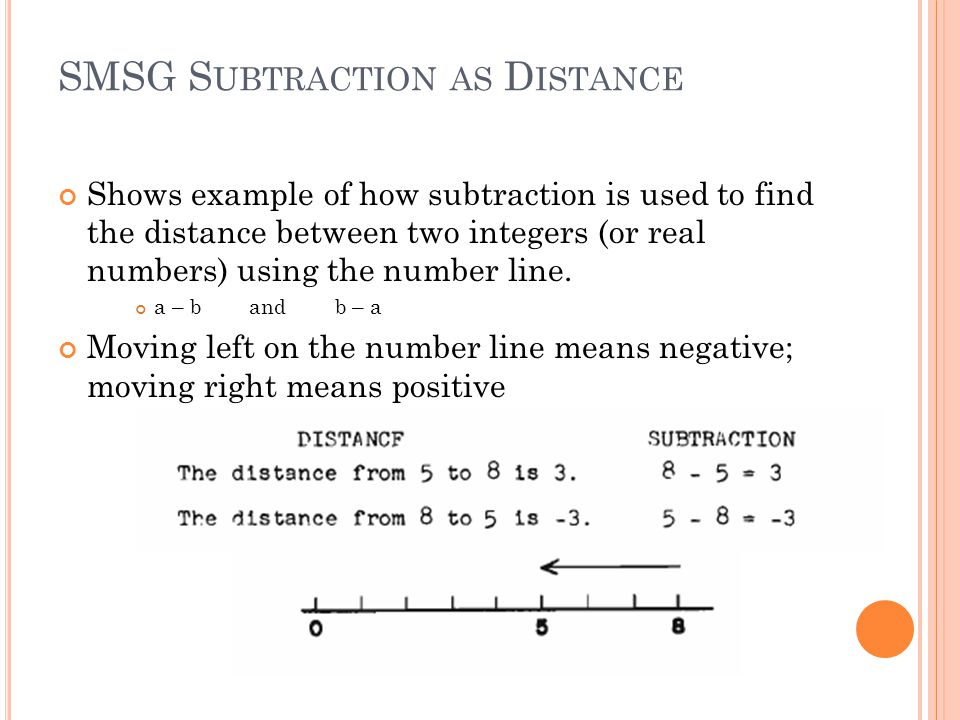 SMSG S UBTRACTION AS D ISTANCE Shows example of how subtraction is used to find the distance between two integers (or real numbers) using the number line.