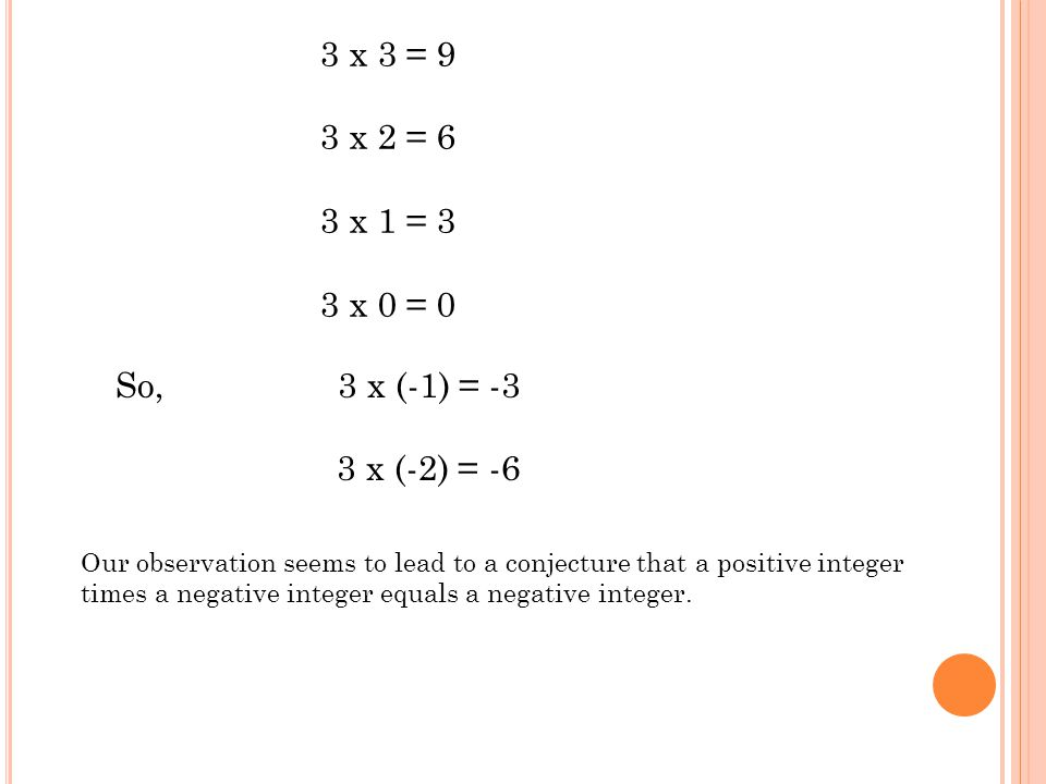 3 x 3 = 9 3 x 2 = 6 3 x 1 = 3 3 x 0 = 0 So, 3 x (-1) = -3 3 x (-2) = -6 Our observation seems to lead to a conjecture that a positive integer times a negative integer equals a negative integer.