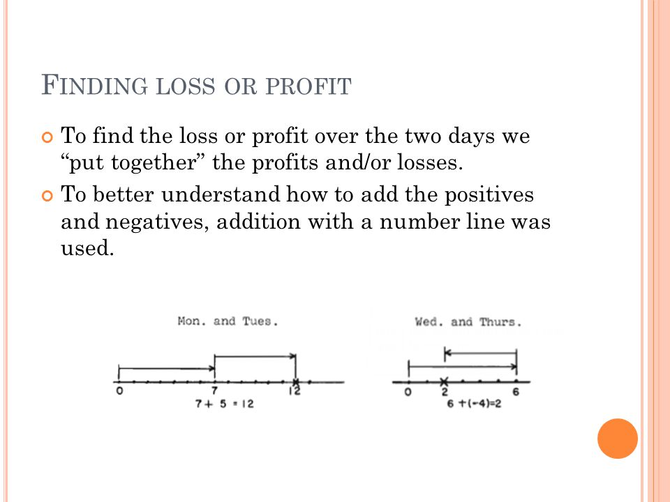 F INDING LOSS OR PROFIT To find the loss or profit over the two days we put together the profits and/or losses.