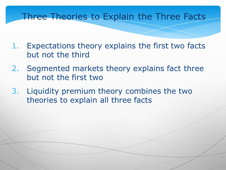 Three Theories to Explain the Three Facts 1.Expectations theory explains the first two facts but not the third 2.Segmented markets theory explains fact three but not the first two 3.Liquidity premium theory combines the two theories to explain all three facts