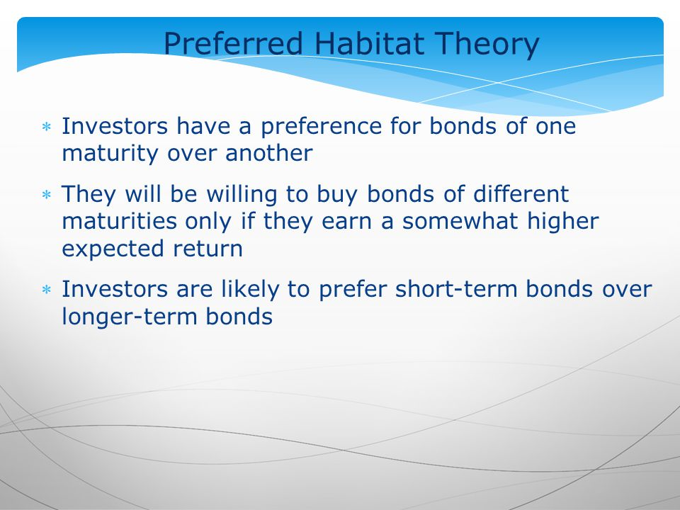 Preferred Habitat Theory Investors have a preference for bonds of one maturity over another They will be willing to buy bonds of different maturities only if they earn a somewhat higher expected return Investors are likely to prefer short-term bonds over longer-term bonds