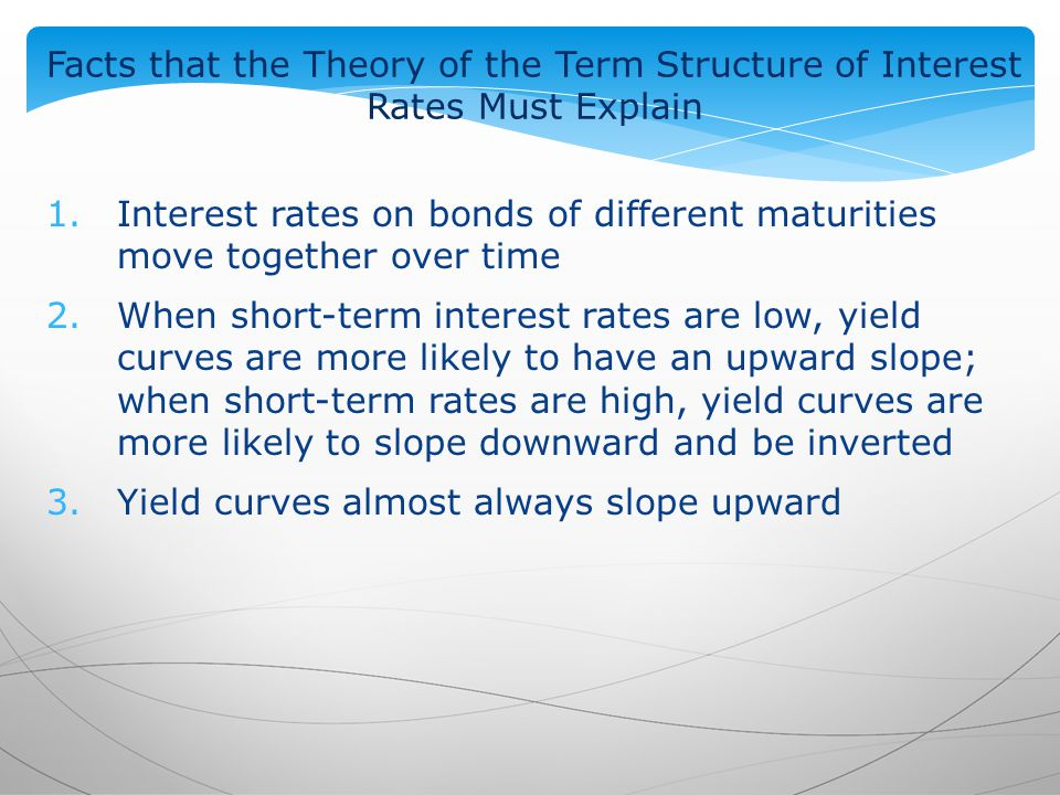 Facts that the Theory of the Term Structure of Interest Rates Must Explain 1.Interest rates on bonds of different maturities move together over time 2.When short-term interest rates are low, yield curves are more likely to have an upward slope; when short-term rates are high, yield curves are more likely to slope downward and be inverted 3.Yield curves almost always slope upward