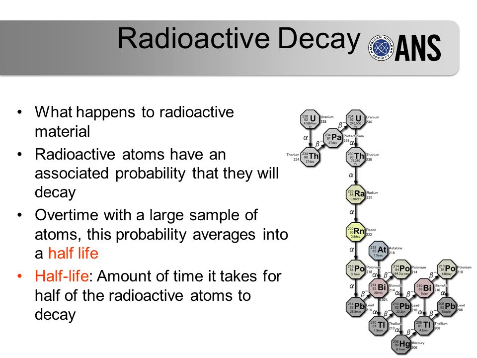 Radioactive Decay What happens to radioactive material Radioactive atoms have an associated probability that they will decay Overtime with a large sample of atoms, this probability averages into a half life Half-life: Amount of time it takes for half of the radioactive atoms to decay