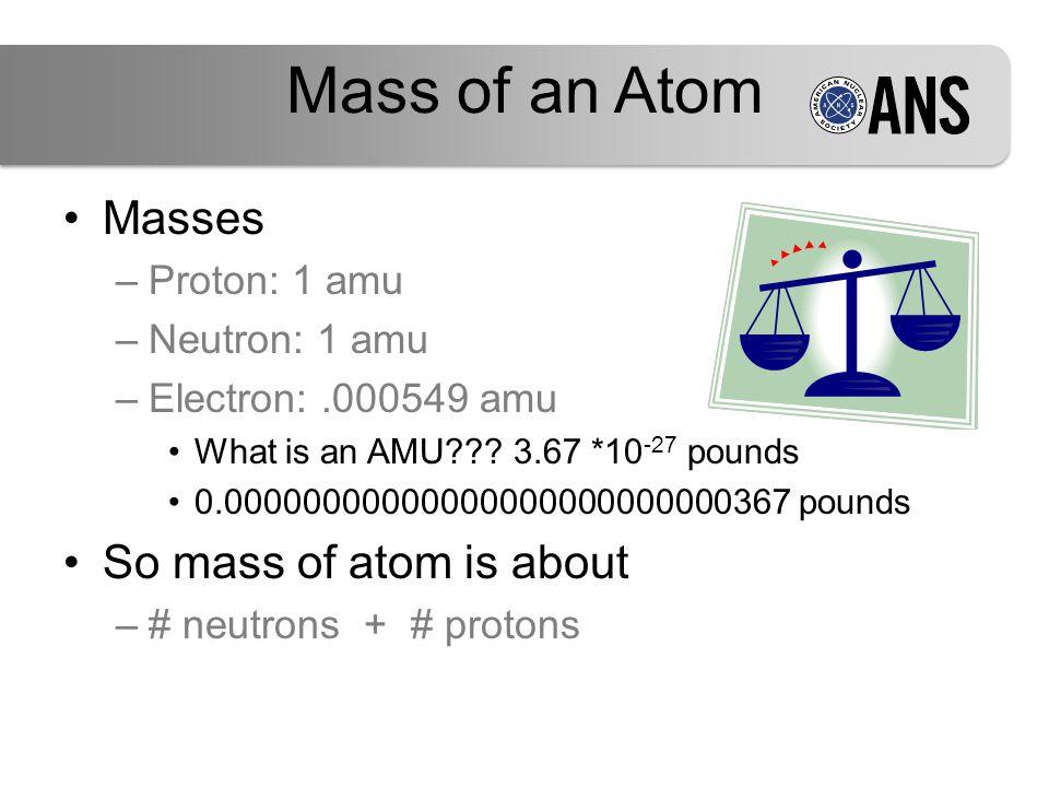 Mass of an Atom Masses –Proton: 1 amu –Neutron: 1 amu –Electron:.000549 amu What is an AMU .