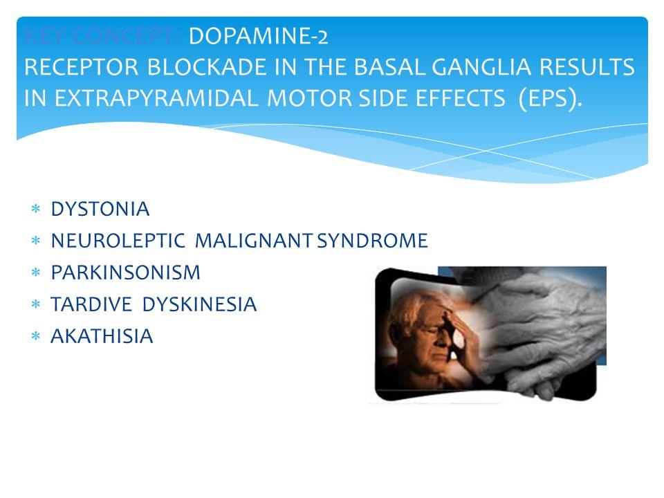  DYSTONIA  NEUROLEPTIC MALIGNANT SYNDROME  PARKINSONISM  TARDIVE DYSKINESIA  AKATHISIA KEY CONCEPT: DOPAMINE-2 RECEPTOR BLOCKADE IN THE BASAL GANGLIA RESULTS IN EXTRAPYRAMIDAL MOTOR SIDE EFFECTS (EPS).