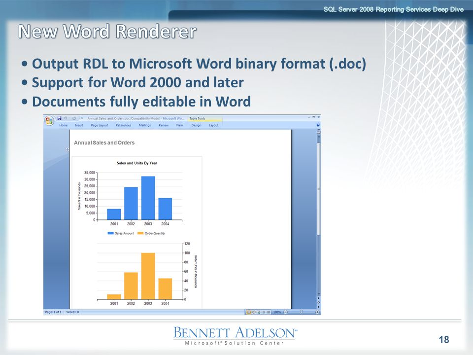 18 Output RDL to Microsoft Word binary format (.doc) Support for Word 2000 and later Documents fully editable in Word