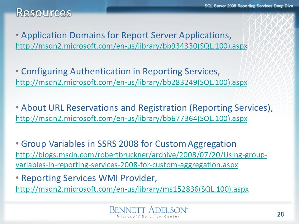 Application Domains for Report Server Applications, http://msdn2.microsoft.com/en-us/library/bb934330(SQL.100).aspx http://msdn2.microsoft.com/en-us/l