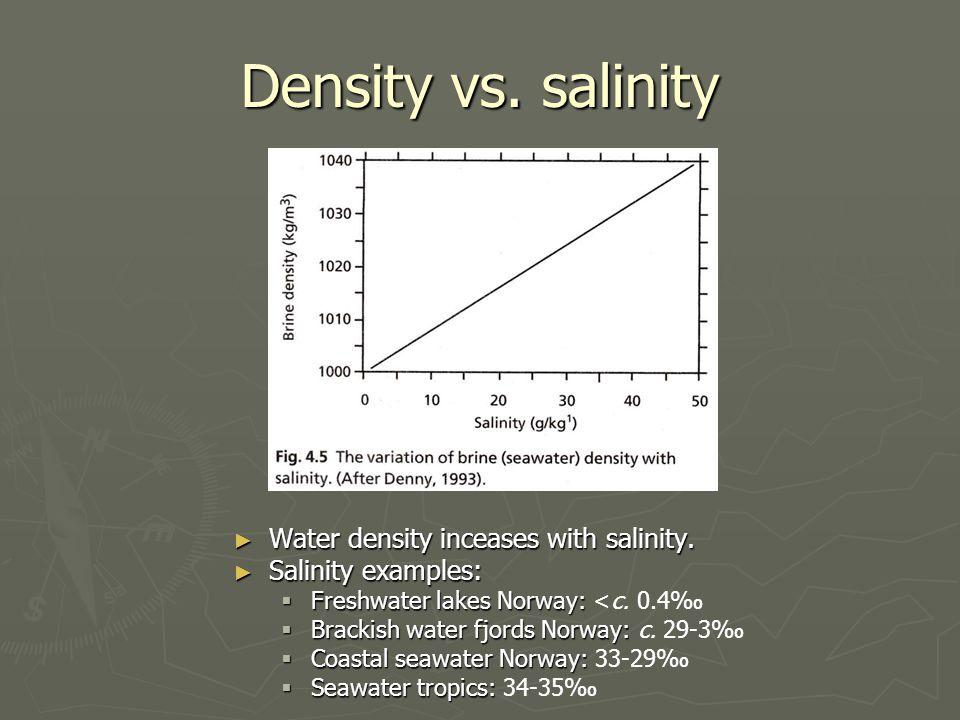 Density vs.salinity ► Water density inceases with salinity.
