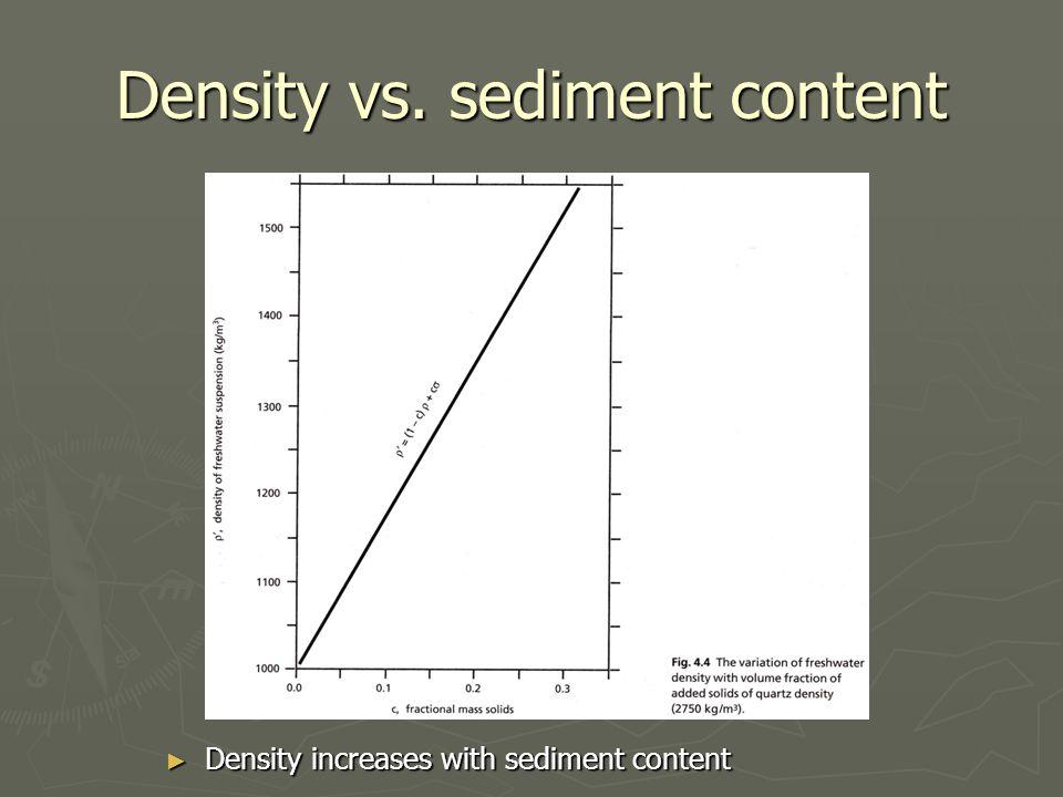 Density vs. sediment content ► Density increases with sediment content