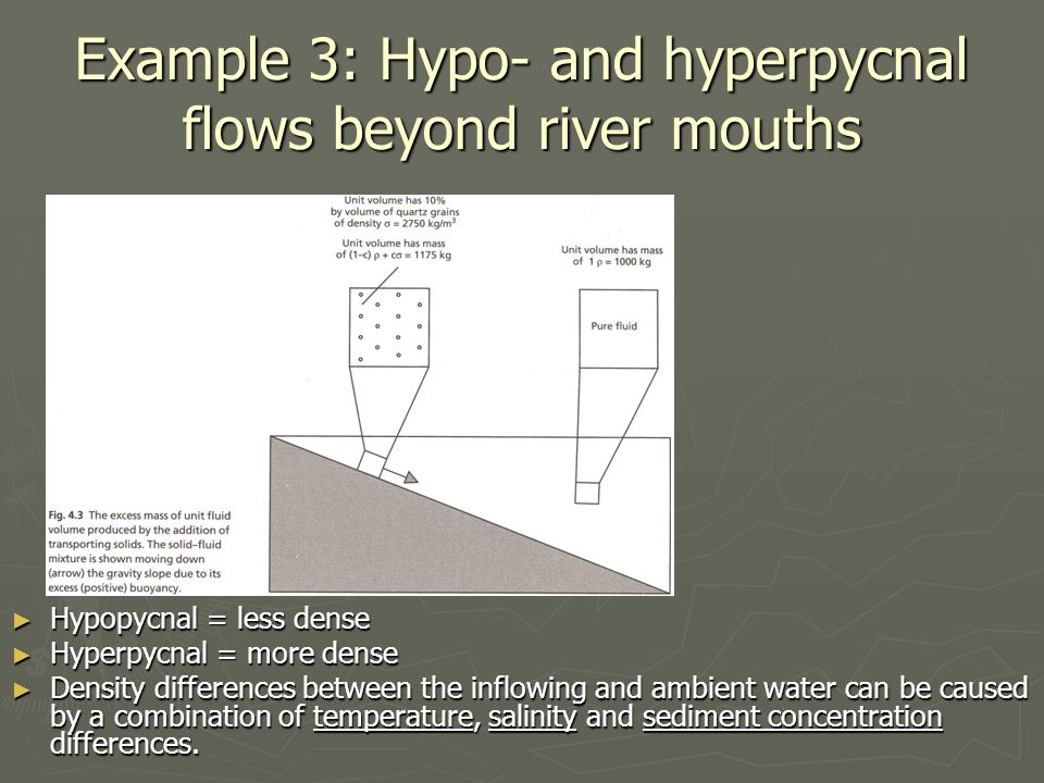 Example 3: Hypo- and hyperpycnal flows beyond river mouths ► Hypopycnal = less dense ► Hyperpycnal = more dense ► Density differences between the infl