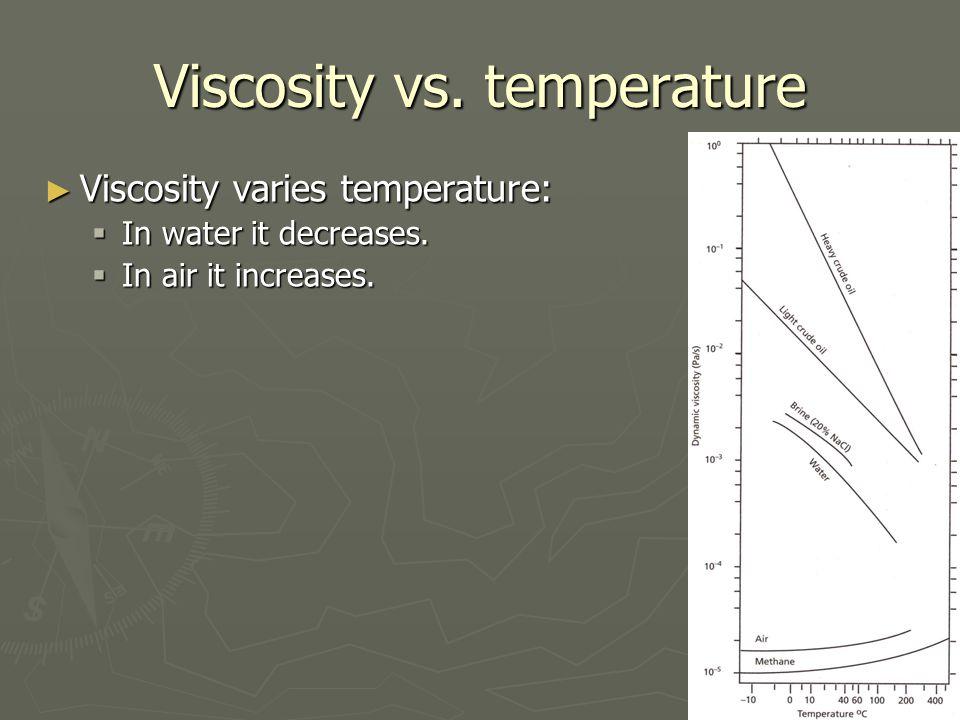 Viscosity vs.temperature ► Viscosity varies temperature:  In water it decreases.