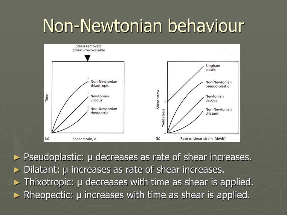 Non-Newtonian behaviour ► Pseudoplastic: μ decreases as rate of shear increases.