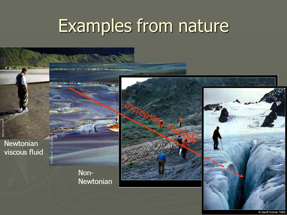 Examples from nature Newtonian viscous fluid Non- Newtonian Increasing viscosity