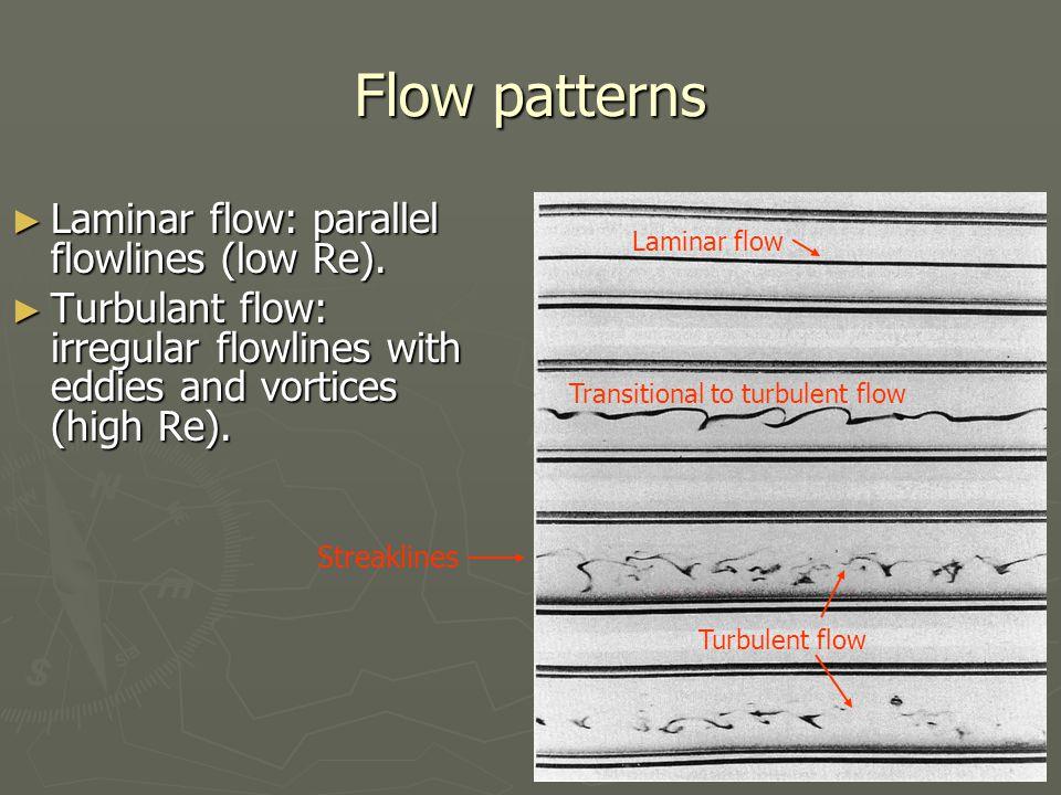 Flow patterns ► Laminar flow: parallel flowlines (low Re).