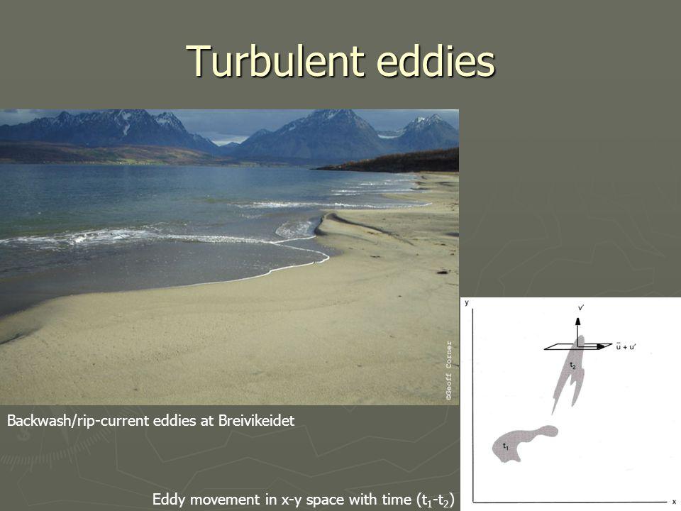Turbulent eddies Backwash/rip-current eddies at Breivikeidet Eddy movement in x-y space with time (t 1 -t 2 )