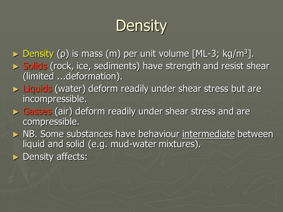 Density ► Density (ρ) is mass (m) per unit volume [ML-3; kg/m 3 ].