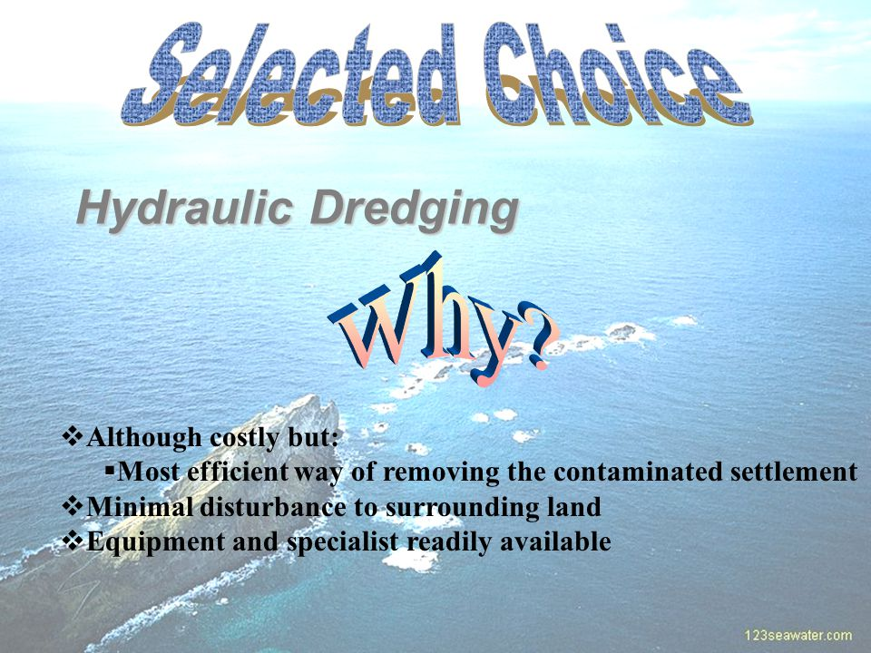 Hydraulic Dredging  Although costly but:  Most efficient way of removing the contaminated settlement  Minimal disturbance to surrounding land  Equipment and specialist readily available