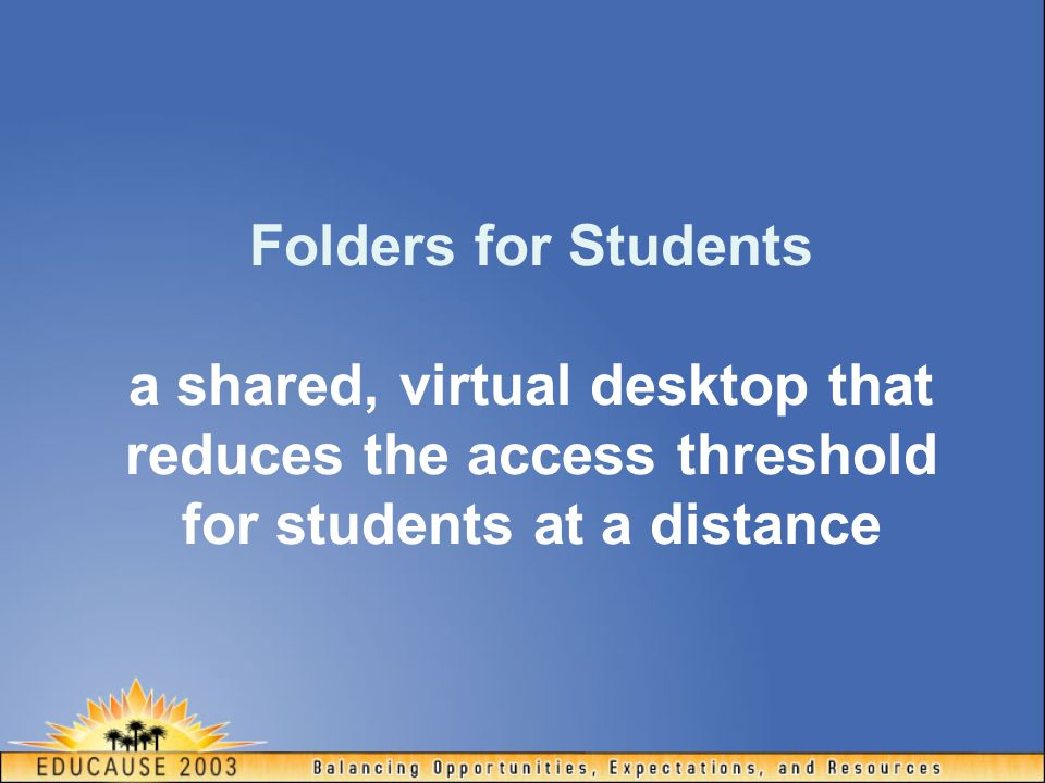 Folders for Students a shared, virtual desktop that reduces the access threshold for students at a distance