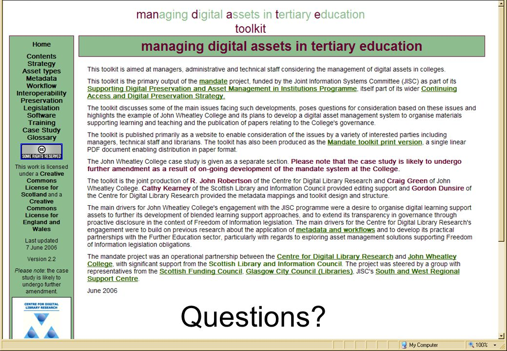 an FE/HE development partnership supported by the Scottish Library and Information Council Questions