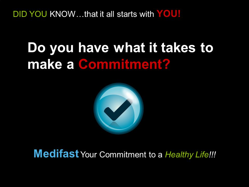 DID YOU KNOW…that it all starts with YOU. Medifast Your Commitment to a Healthy Life!!.
