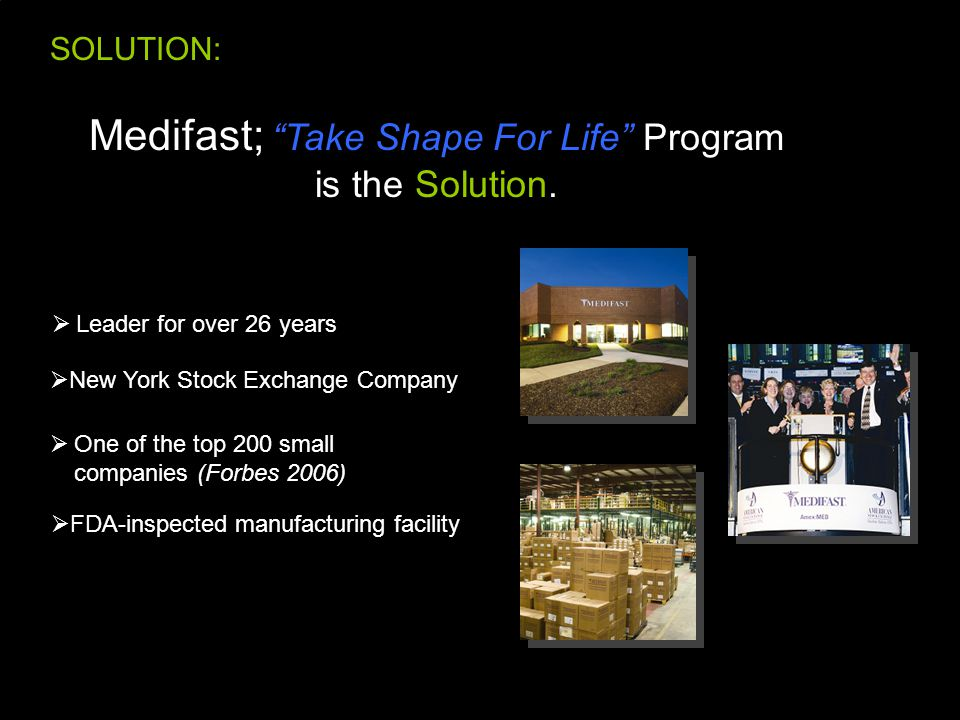 SOLUTION: Medifast; Take Shape For Life Program is the Solution.