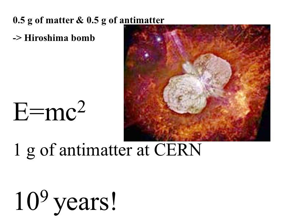 0.5 g of matter & 0.5 g of antimatter -> Hiroshima bomb E=mc 2 1 g of antimatter at CERN 10 9 years!