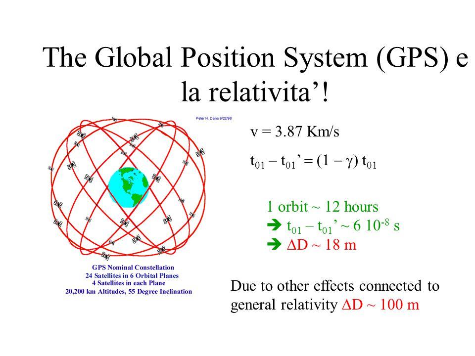 The Global Position System (GPS) e la relativita'! 1 orbit ~ 12 hours  t 01 – t 01 ' ~ 6 10 -8 s   D ~ 18 m v = 3.87 Km/s t 01 – t 01 ' 