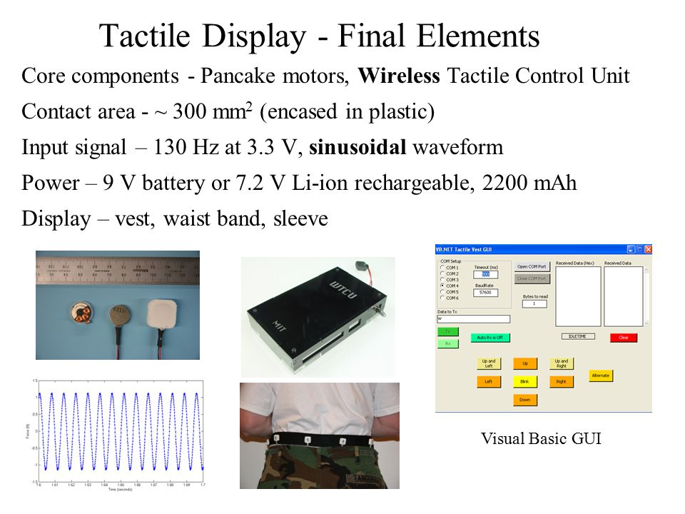 Tactile Display - Final Elements Core components - Pancake motors, Wireless Tactile Control Unit Contact area - ~ 300 mm 2 (encased in plastic) Input signal – 130 Hz at 3.3 V, sinusoidal waveform Power – 9 V battery or 7.2 V Li-ion rechargeable, 2200 mAh Display – vest, waist band, sleeve Visual Basic GUI