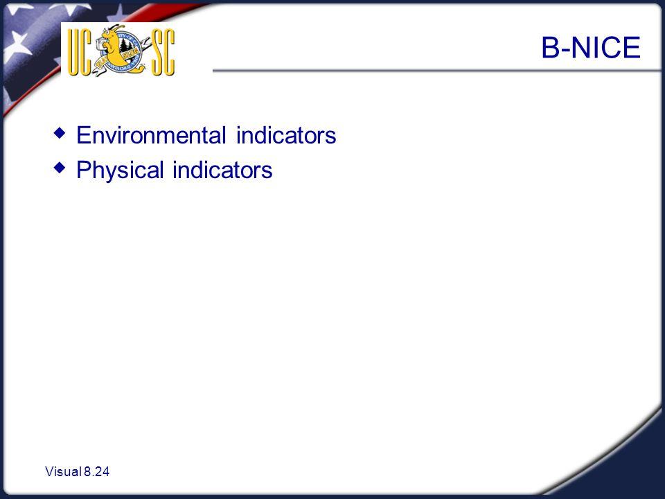 Visual 8.24 B-NICE  Environmental indicators  Physical indicators