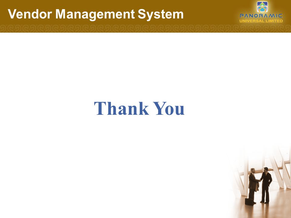 Thank You Vendor Management System