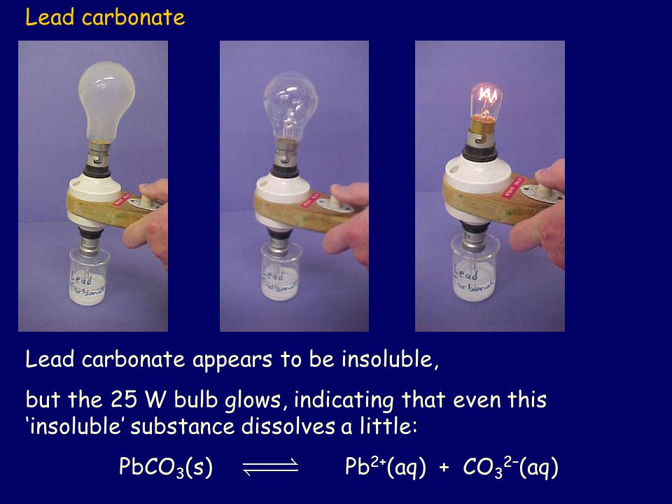 Lead carbonate Lead carbonate appears to be insoluble, but the 25 W bulb glows, indicating that even this 'insoluble' substance dissolves a little: Pb