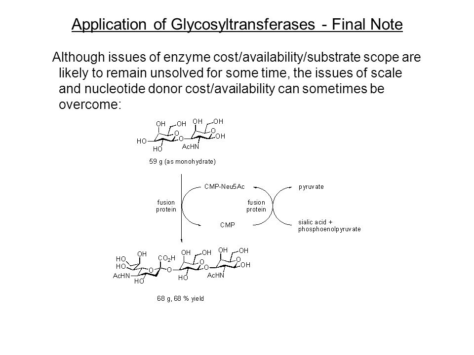 Application of Glycosyltransferases - Final Note Although issues of enzyme cost/availability/substrate scope are likely to remain unsolved for some time, the issues of scale and nucleotide donor cost/availability can sometimes be overcome: