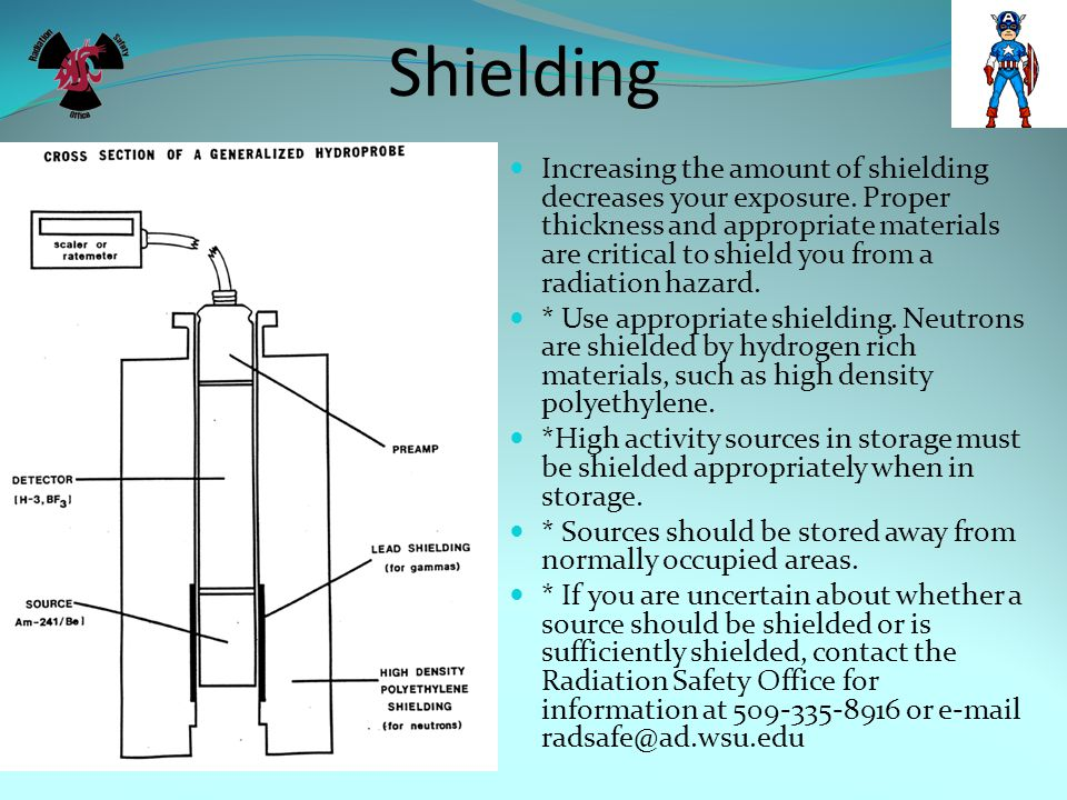 Shielding Increasing the amount of shielding decreases your exposure. Proper thickness and appropriate materials are critical to shield you from a rad