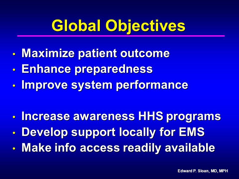 Edward P. Sloan, MD, MPH Global Objectives Maximize patient outcome Maximize patient outcome Enhance preparedness Enhance preparedness Improve system