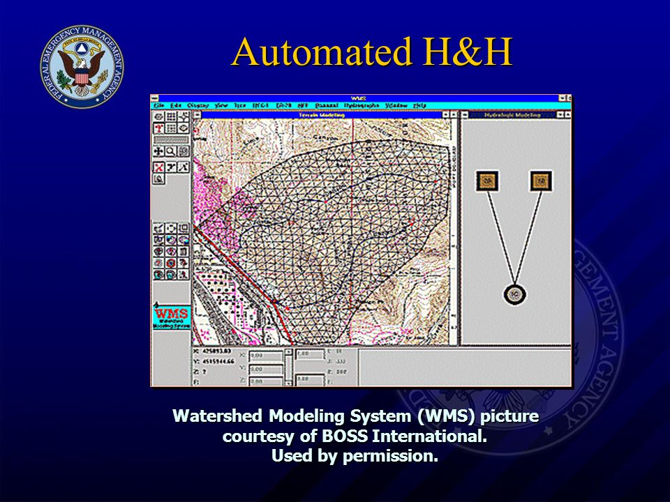 Automated H&H Watershed Modeling System (WMS) picture courtesy of BOSS International.