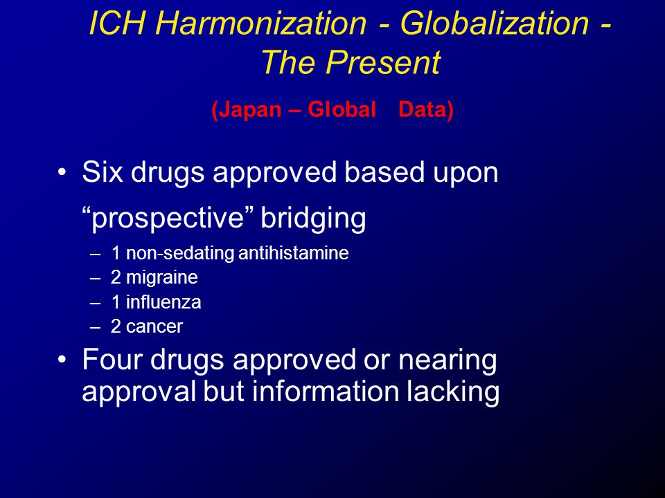"(Japan – Global Data) Six drugs approved based upon ""prospective"" bridging –1 non-sedating antihistamine –2 migraine –1 influenza –2 cancer Four drugs"
