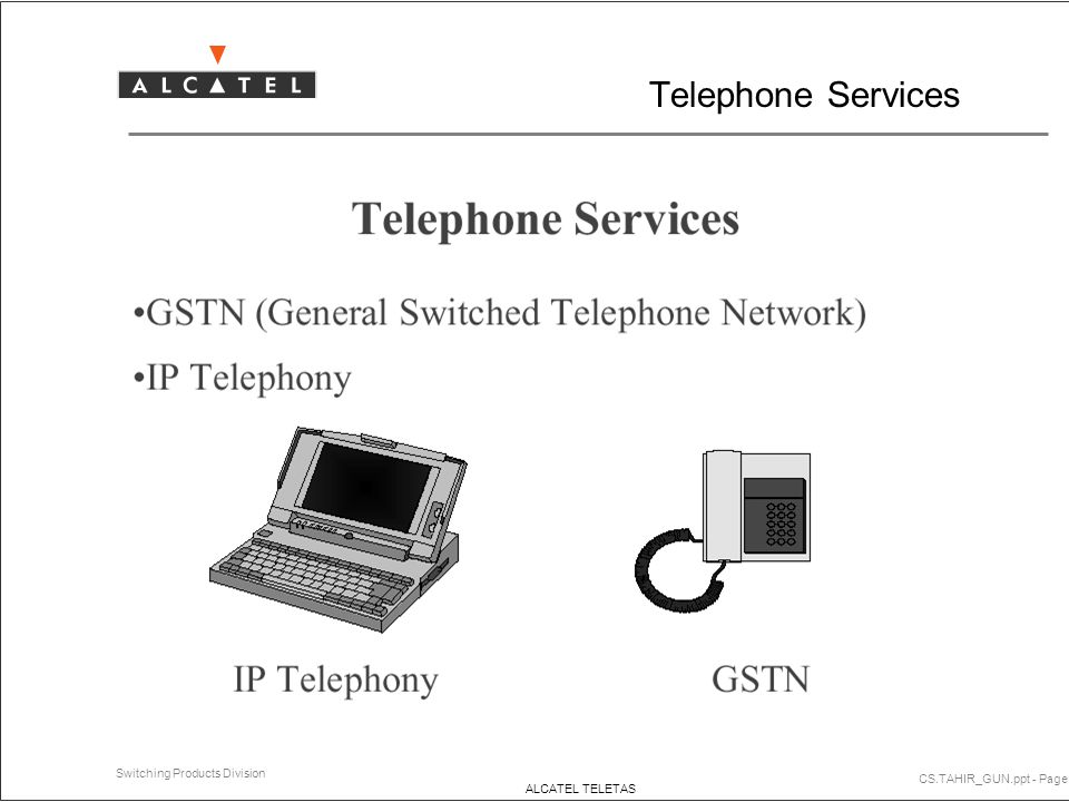 Telephone Services CS.TAHIR_GUN.ppt - Page 1 Switching Products Division ALCATEL TELETAS