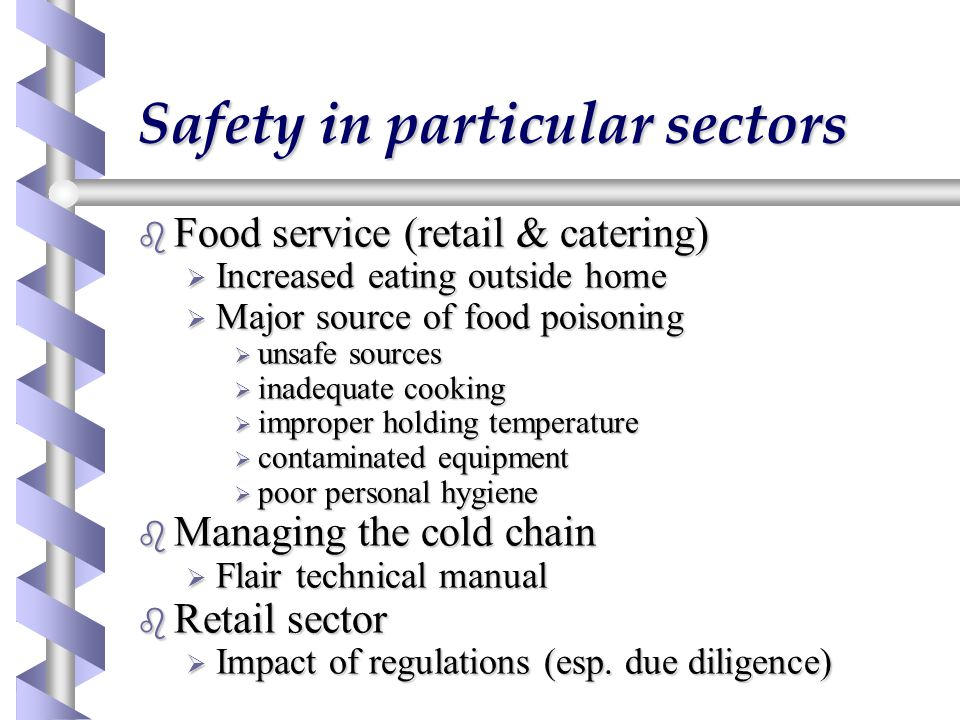 Safety in particular sectors b Food service (retail & catering)  Increased eating outside home  Major source of food poisoning  unsafe sources  in