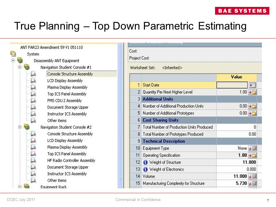 7 True Planning – Top Down Parametric Estimating Commercial in ConfidenceDCEC July 2011