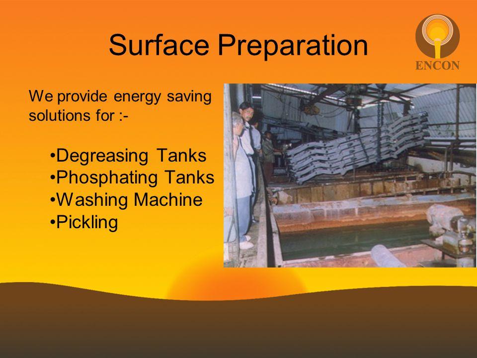 Surface Preparation We provide energy saving solutions for :- Degreasing Tanks Phosphating Tanks Washing Machine Pickling
