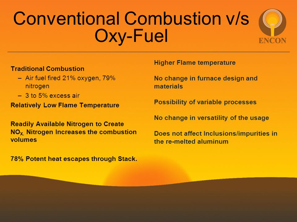 Conventional Combustion v/s Oxy-Fuel Traditional Combustion –Air fuel fired 21% oxygen, 79% nitrogen –3 to 5% excess air Relatively Low Flame Temperat