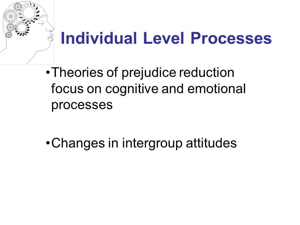 Individual Level Processes Theories of prejudice reduction focus on cognitive and emotional processes Changes in intergroup attitudes