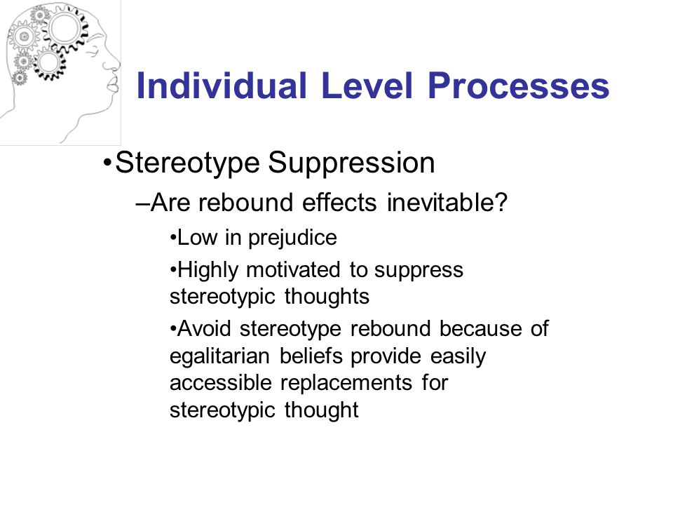 Individual Level Processes Stereotype Suppression –Are rebound effects inevitable.