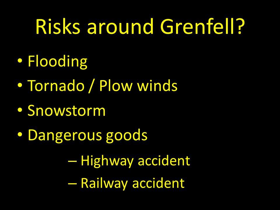 Risks around Grenfell? Flooding Tornado / Plow winds Snowstorm Dangerous goods – Highway accident – Railway accident